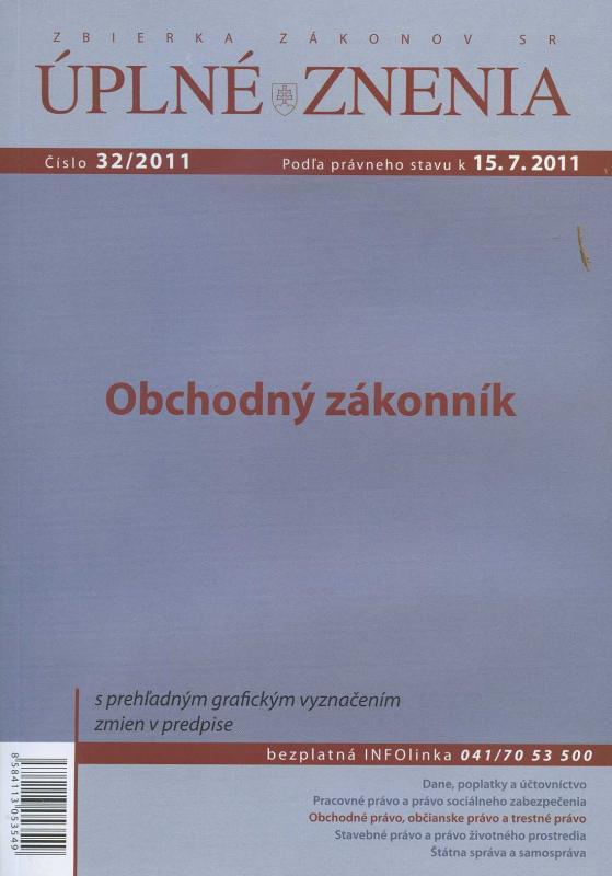 Kniha: UZZ 32/2011 Obchodný zákonníkautor neuvedený
