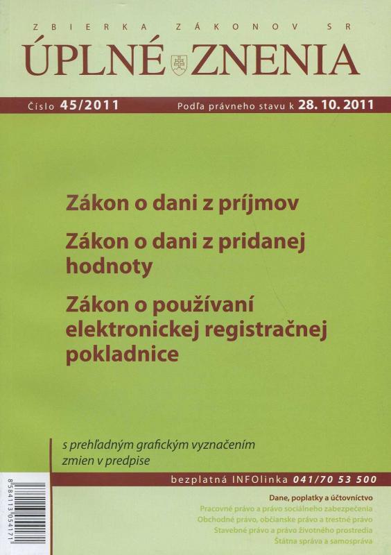 Kniha: UZZ 45/2011 Zákon o dani z príjmovautor neuvedený