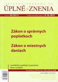 UZZ 30/2012 Zákon o správnych poplatkoch