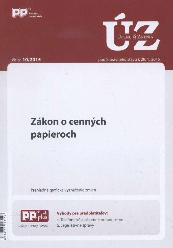 UZZ 10/2015 Zákon o cenných papieroch