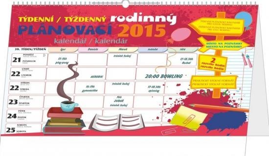 Kalendář 2015 - Týdenní rodinný plánovací kalendář s háčkem SK+CZ