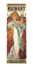 Pohled Alfons Mucha – Champagne Ruinart, dlouhý