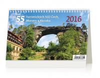 Kalendář stolní 2016 - 55 turistických nej Čech, Moravy a Slezska