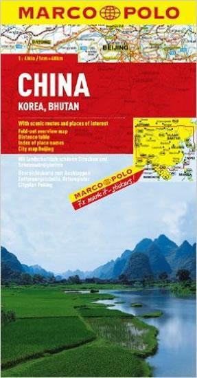 Čína,Korea,Bhutan/mapa1:4M MD
