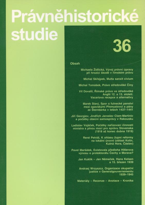 Kniha: Právněhistorické studie 36 - Karel Malý